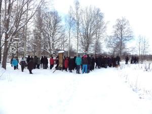 God uppslutning för protest mot broavstängning. Foto Lars F